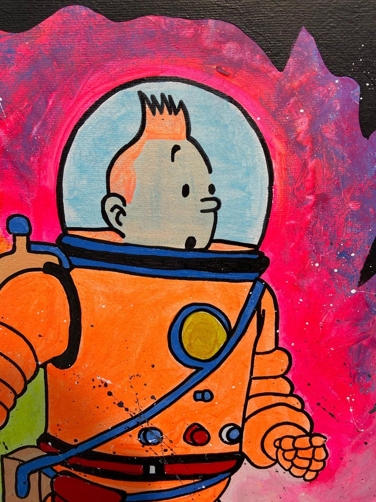 Clem $ - Tintin - 2020 Acrylic painting on canvas frame 80 x 61 cms Signed