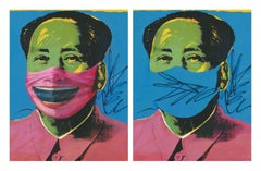 "Andy Warhol ""Mao"" masked with Minjun's Hat & Unmasked"