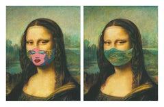 "Leonardo da Vinci ""The Mona Lisa"" masked with Andy Wahrol 's Marilyn & Unmasked"