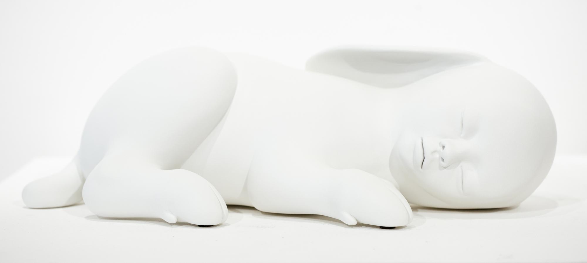 """Nebrida"", Figurative, Mythic, Imaginary, Animal, White Resin Sculpture"