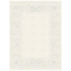 Clementine Blanc - Floral Beige Hand Knotted Wool Silk Rug