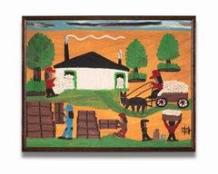 """Untitled"" Folk Art, Black Southern Life, Farm Scene, Colorful, Signed"