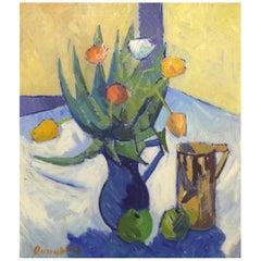 Clemmen Clemmensen, Danish Painter, Still Life with Flowers, 1961