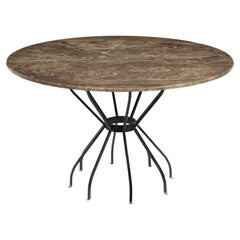 Cleo Baldon Style Dining Table in Wrought Iron with Custom Marble Top, 1960s