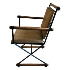 Midcentury Iron and Fumed Oak Directors Chair by Inca, Cleo Baldon Style