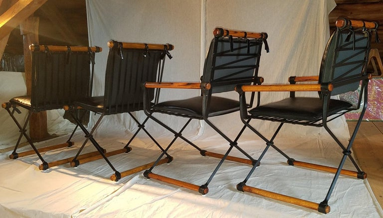 Mid-Century Modern Cleo Baldon Outdoor Indoor Oak and Iron Campaign Chairs for Terra, 1960s For Sale
