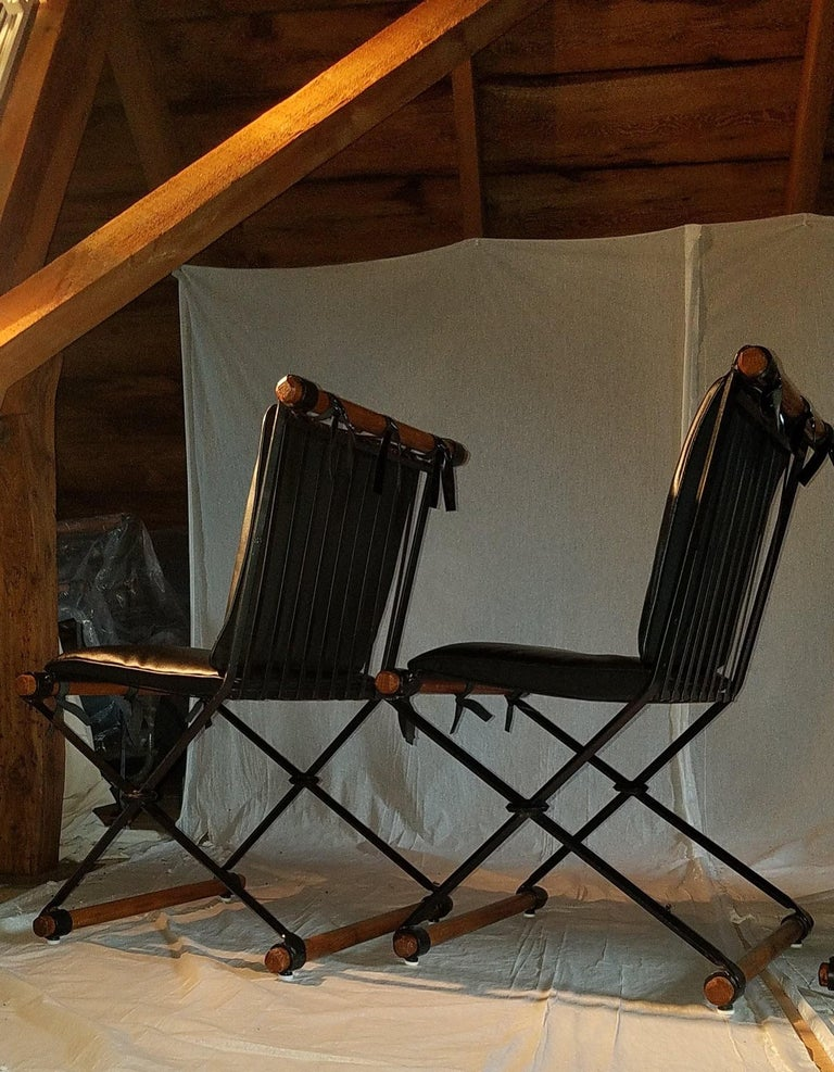 Blackened Cleo Baldon Outdoor Indoor Oak and Iron Campaign Chairs for Terra, 1960s For Sale