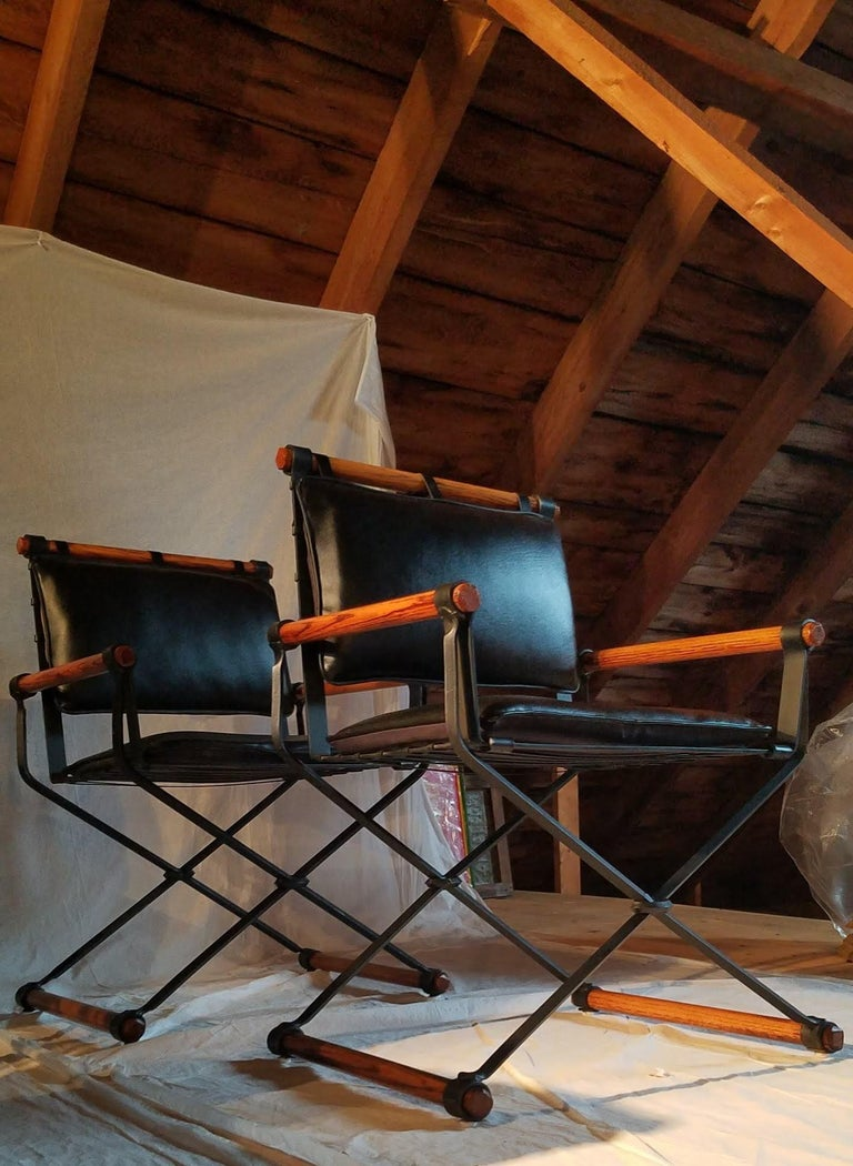 Cleo Baldon Outdoor Indoor Oak and Iron Campaign Chairs for Terra, 1960s In Good Condition For Sale In Camden, ME