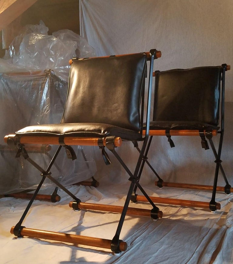 20th Century Cleo Baldon Outdoor Indoor Oak and Iron Campaign Chairs for Terra, 1960s For Sale