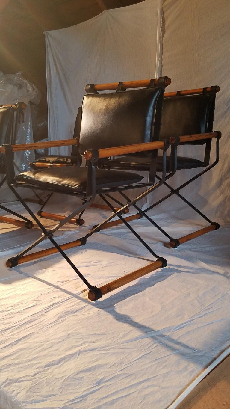 Cleo Baldon Outdoor Indoor Oak and Iron Campaign Chairs for Terra, 1960s For Sale 1