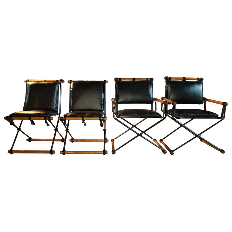 Cleo Baldon Outdoor Indoor Oak and Iron Campaign Chairs for Terra, 1960s For Sale
