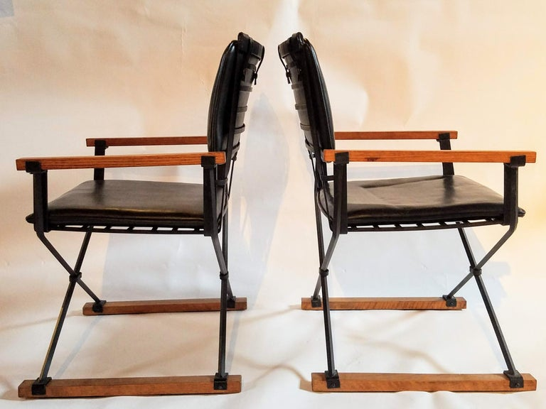 Mid-Century Modern Cleo Baldon Pair of Campaign Chairs Hand Crafted Wrought Iron Terra Studio 1960s For Sale