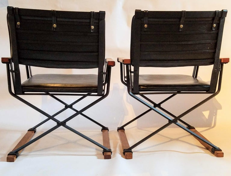 American Cleo Baldon Pair of Campaign Chairs Hand Crafted Wrought Iron Terra Studio 1960s For Sale
