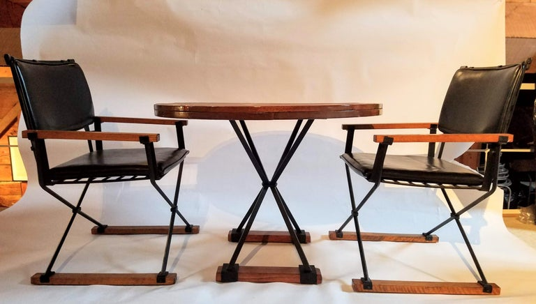 Cleo Baldon Pair of Campaign Chairs Hand Crafted Wrought Iron Terra Studio 1960s For Sale 1