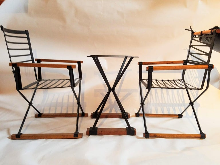 Cleo Baldon Pair of Campaign Chairs Hand Crafted Wrought Iron Terra Studio 1960s For Sale 2