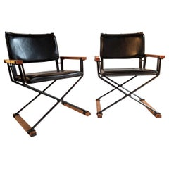 Cleo Baldon Pair of Campaign Chairs Hand Crafted Wrought Iron Terra Studio 1960s