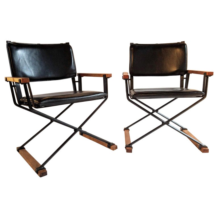 Cleo Baldon Pair of Campaign Chairs Hand Crafted Wrought Iron Terra Studio 1960s For Sale