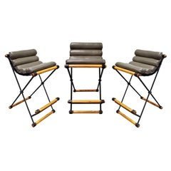 Cleo Baldon Set of 3 Campaign Style Barstools, 1960s