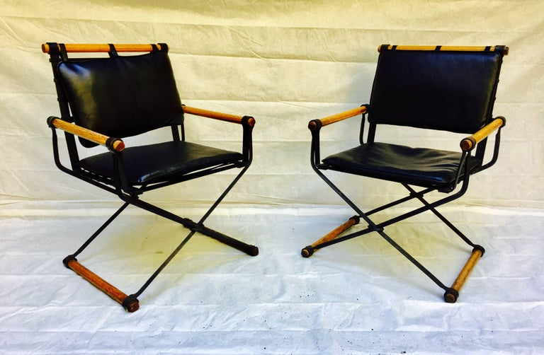 Cleo Baldon Wrought Iron Campaign Armchairs for Terra, circa 1965 For Sale 3