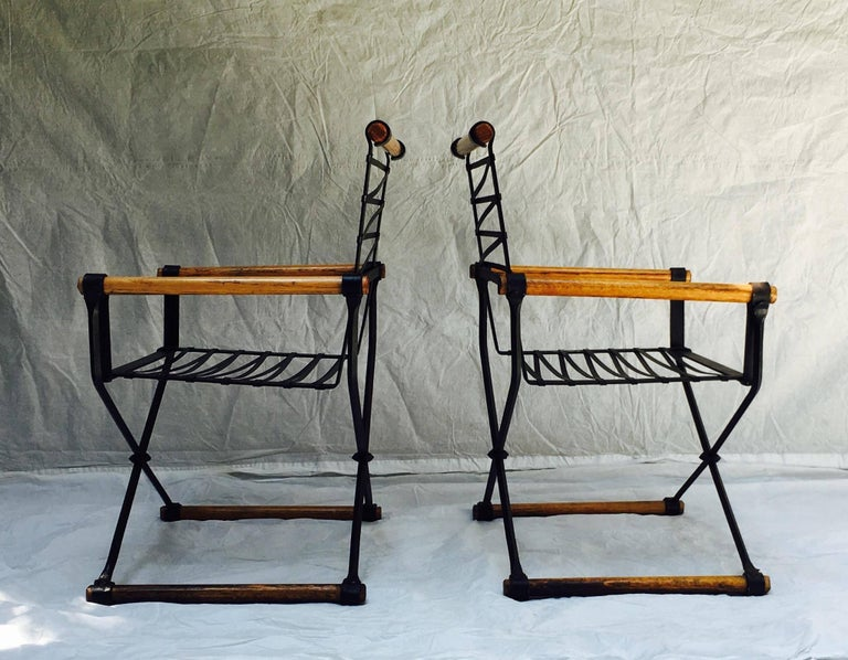 Mid-Century Modern Cleo Baldon Wrought Iron Campaign Armchairs for Terra, circa 1965 For Sale