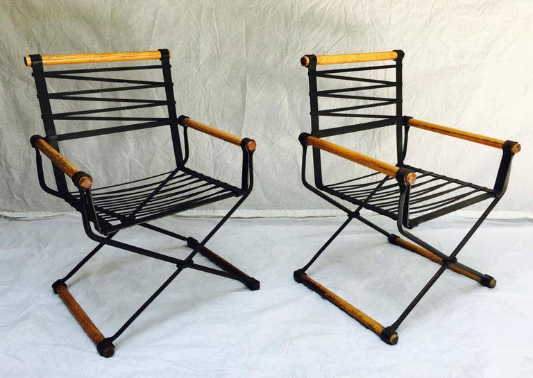 American Cleo Baldon Wrought Iron Campaign Armchairs for Terra, circa 1965 For Sale