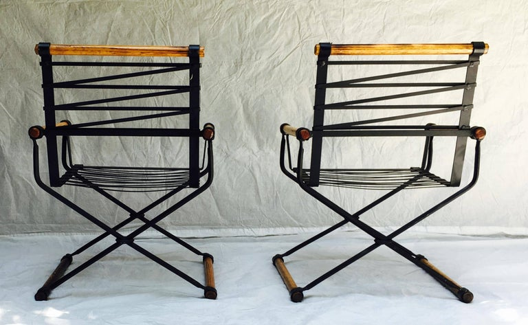 Hand-Crafted Cleo Baldon Wrought Iron Campaign Armchairs for Terra, circa 1965 For Sale
