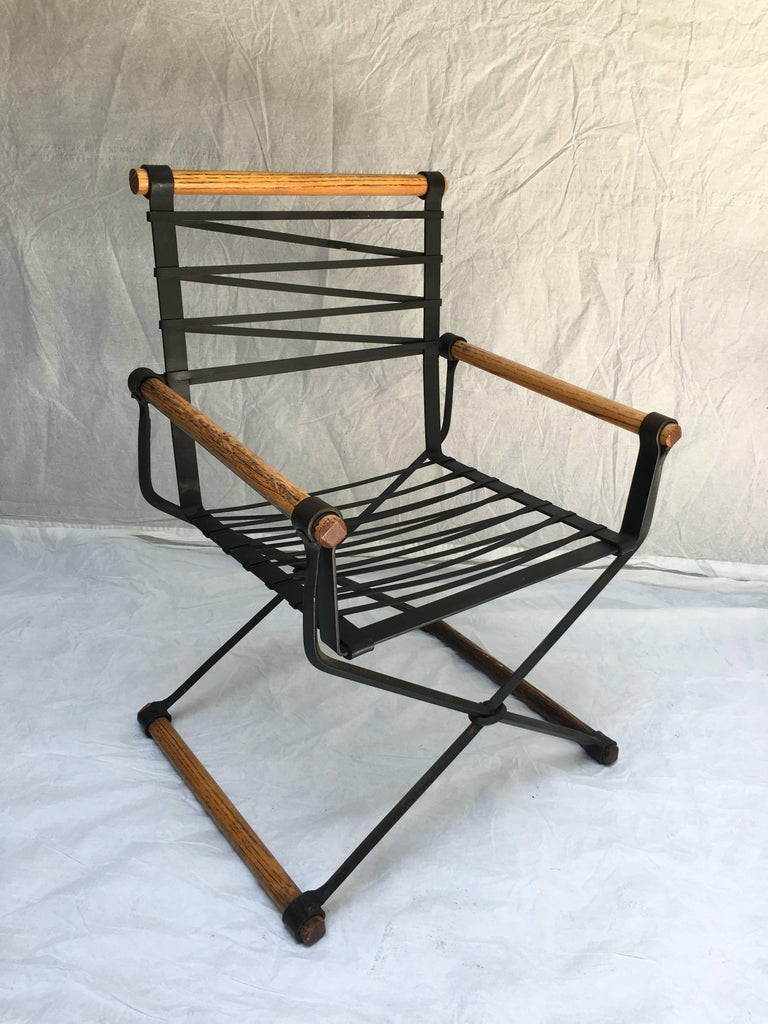Cleo Baldon Wrought Iron Campaign Armchairs for Terra, circa 1965 In Good Condition For Sale In Camden, ME