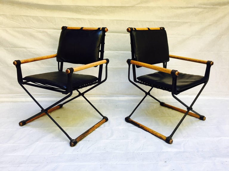 Cleo Baldon Wrought Iron Campaign Armchairs for Terra, circa 1965 For Sale 2