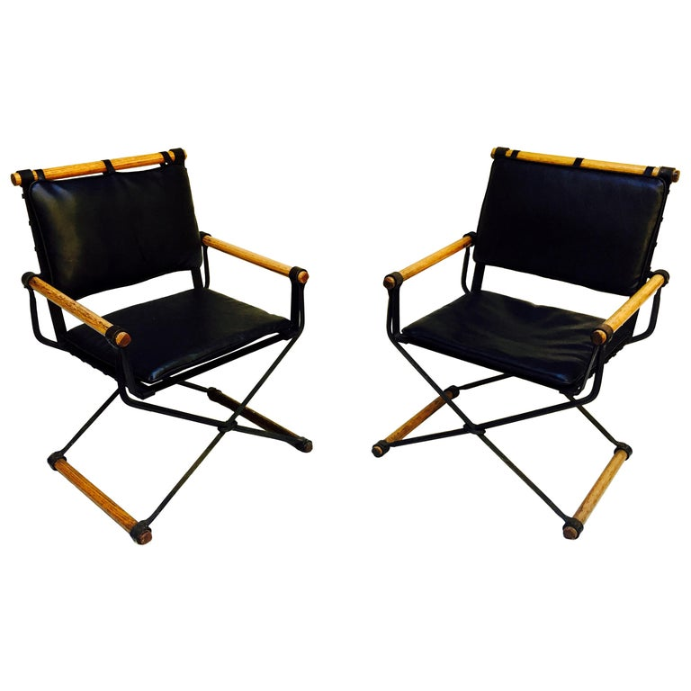 Cleo Baldon Wrought Iron Campaign Armchairs for Terra, circa 1965 For Sale