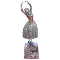 """Demétre Chiparus """"Cleo"""" Cold Painted Bronze Sculpture Signed Chiparus to Bronze"""