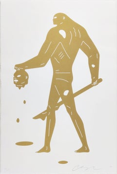 Headless Man, Gold on White by Cleon Peterson- Contemporary Street Art Print