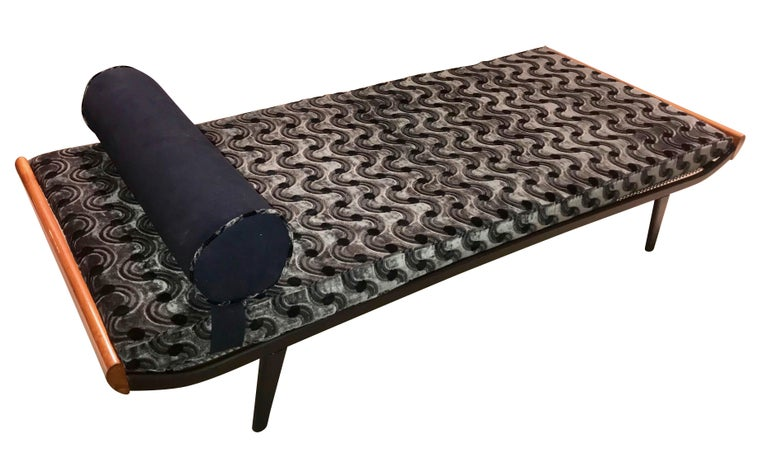 Dutch Cleopatra Daybed, Metal and Teak, Netherlands, 1950s For Sale
