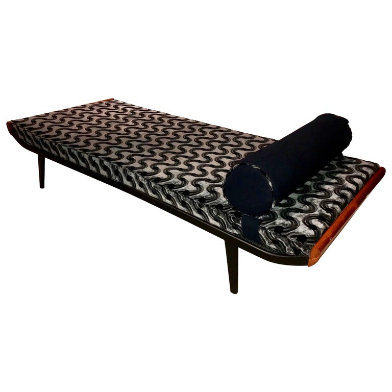 Cleopatra Daybed, Metal and Teak, Netherlands, 1950s For Sale