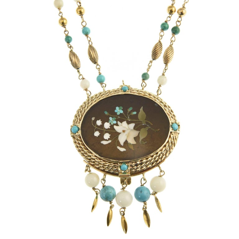 Cleopatra Inspired Turquoise and Gold Necklace with Victorian Pietra Dura Clasp For Sale