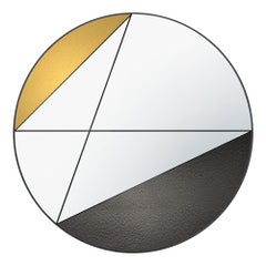 Clepsydra V by Atlasproject Wall Mirror Yellow and Grey Leather