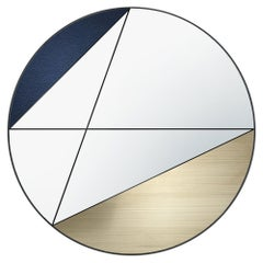 Clepsydra VII by Atlasproject Wall Mirror Blue Leather Brushed Brass