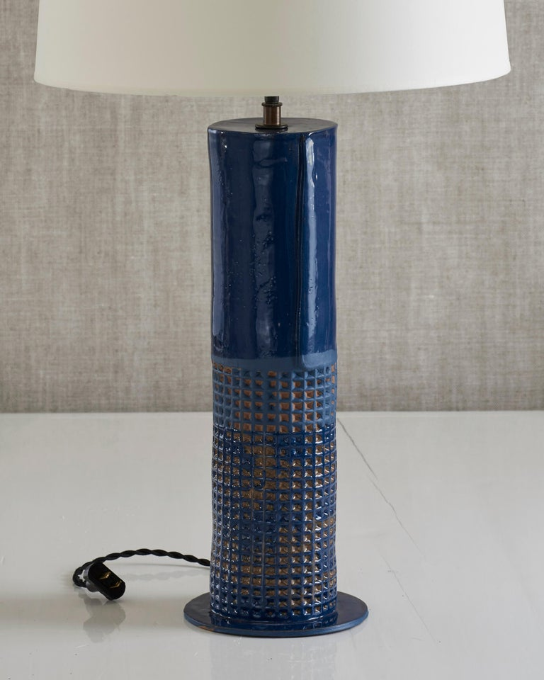 Handmade stoneware slab construction with waffle texture. Lamps are individually crafted and one of a kind.