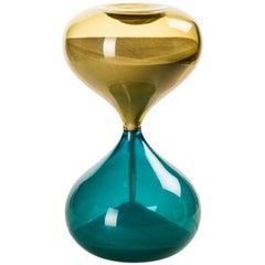 Clessidra Glass Hourglass in Bamboo and Aquamarine by Venini