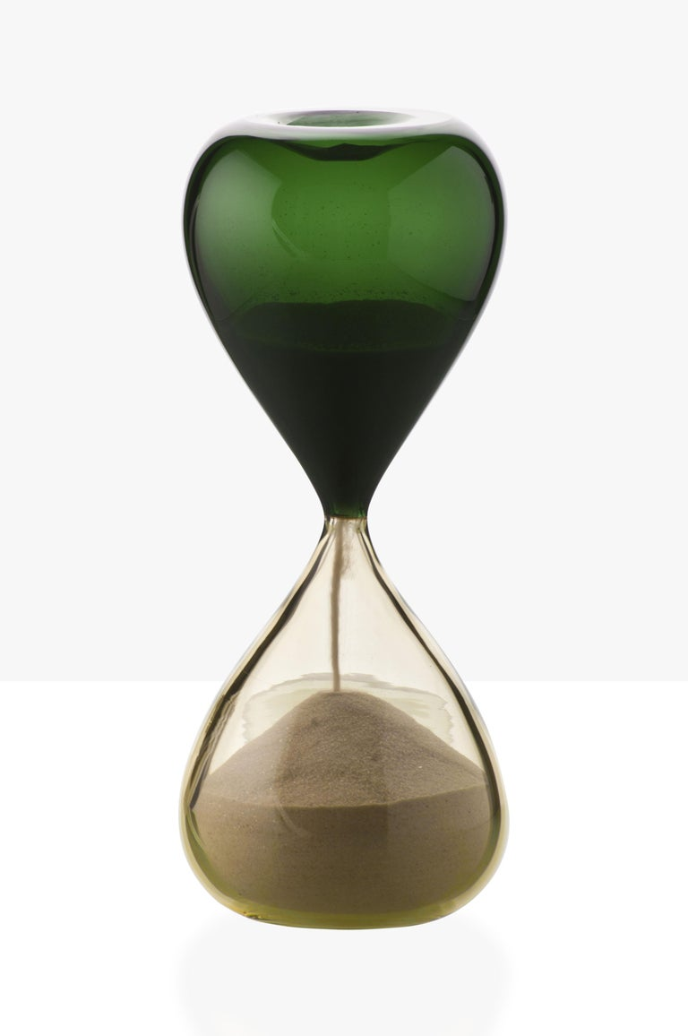 Venini glass hourglass in green and sand. Perfect for indoor home decor or as a statement piece for any room. Limited edition of 199 pieces. Also available in other colors on 1stdibs.