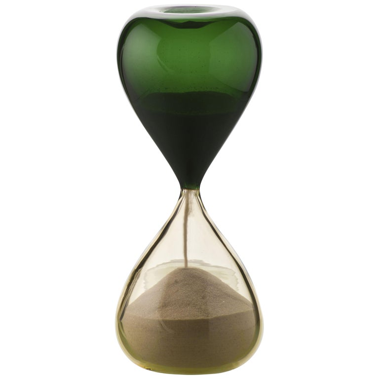 Clessidra Glass Hourglass in Green and Sand by Venini For Sale