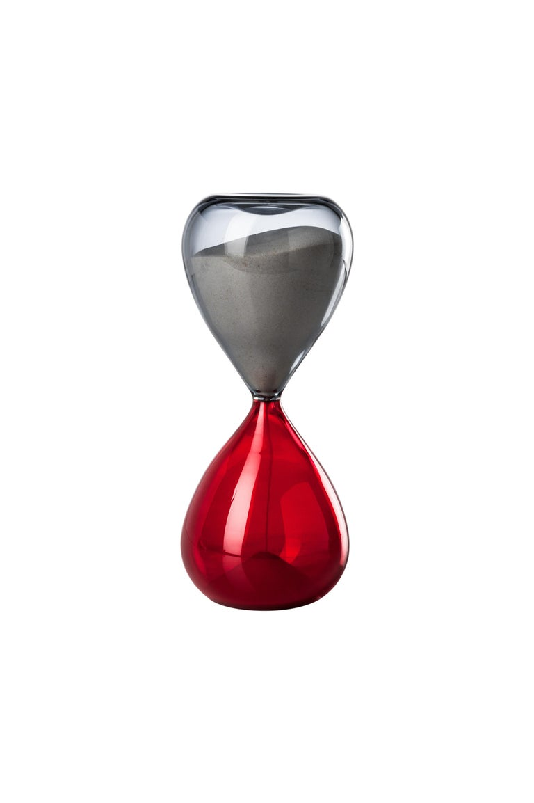 Venini glass hourglass in grey and red. Perfect for indoor home decor or as a statement piece for any room. Limited edition of 199 pieces. Also available in other colors on 1stdibs.