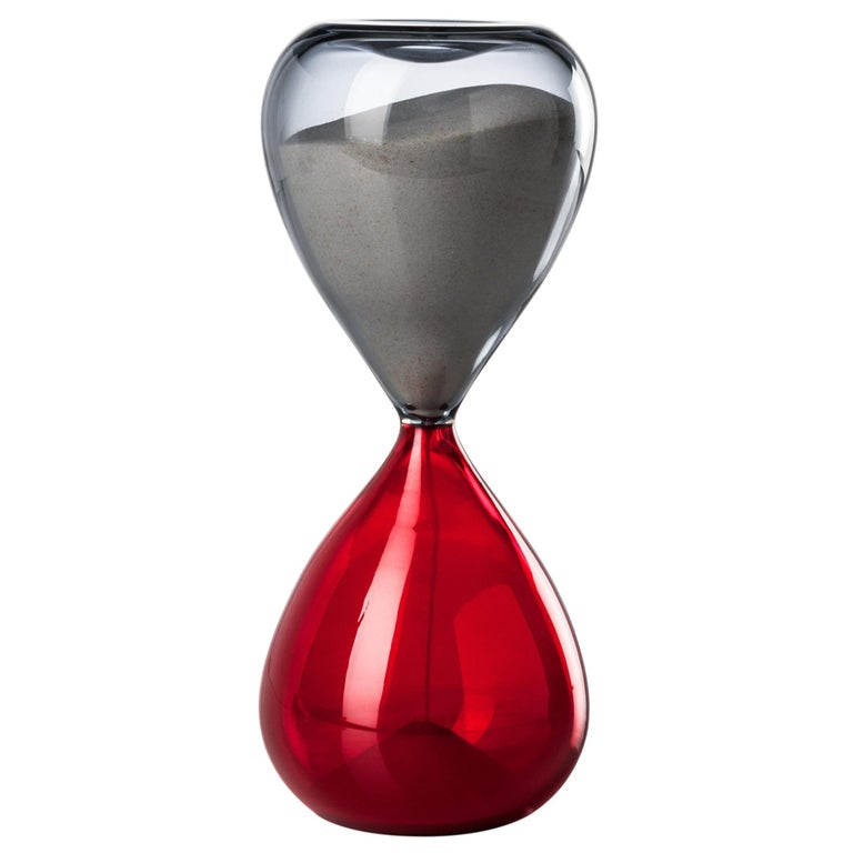 Clessidra Glass Hourglass in Grey and Red by Venini For Sale