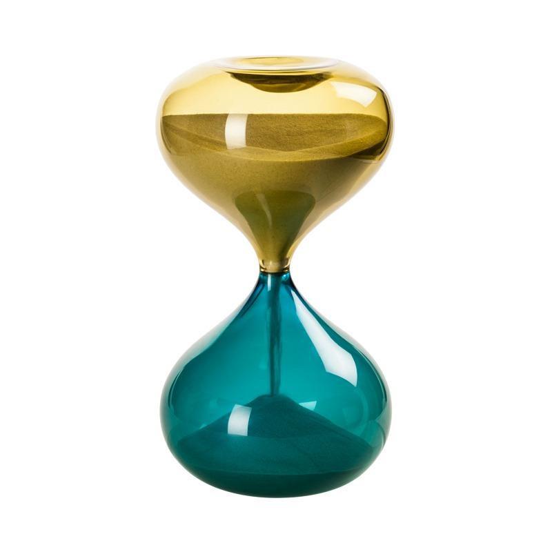 Clessidra Hourglass in Bamboo and Aquamarine Glass by Venini