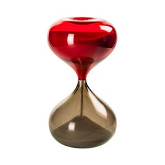 Clessidra Hourglass in Gray and Red Glass by Venini