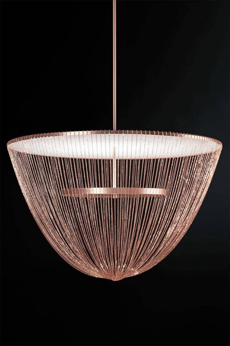 Modern Céleste Small Chandelier in Satin Brass with Satin Chains by Larose Guyon For Sale