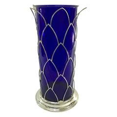 Cleto Munari Modernist Sterling and Blue Murano Glass Vase, Italy, circa 1980