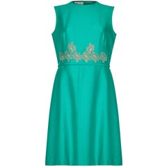 Clevaline London 1960s Emerald Green Dress With Floral Lace Embellishment