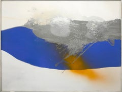 Blue Stream, Large Abstract Expressionist Painting by Cleve Gray 1971