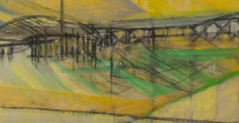 South Hampton 8:45PM - Brown Landscape Painting by Cleve Gray