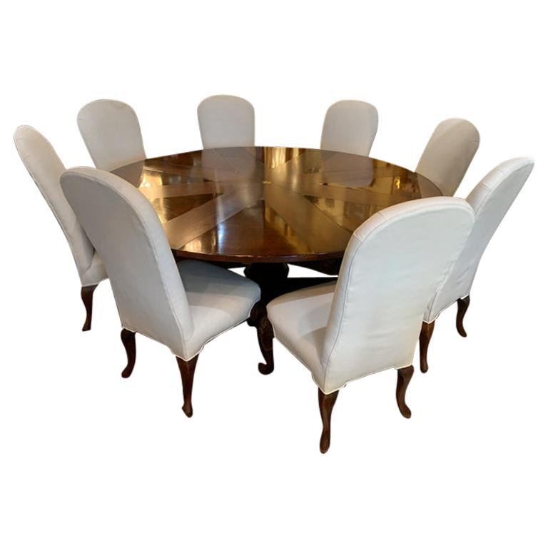 Clever Oscar de la Renta Jupe Movement Expansion Round Dining Table and 8 Chairs
